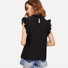 Black Preppy Ruffle Trim Sleeveless Dot Jacquard Blouse | TeresaClare