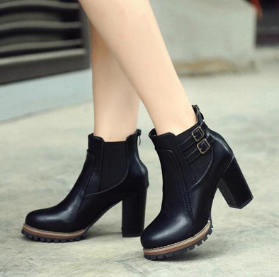 Black Retro Thick High Boots With Belt Buckle | TeresaClare