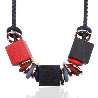 Black Rope Wooden Ethnic Square Alloy Geometric Necklace | TeresaClare