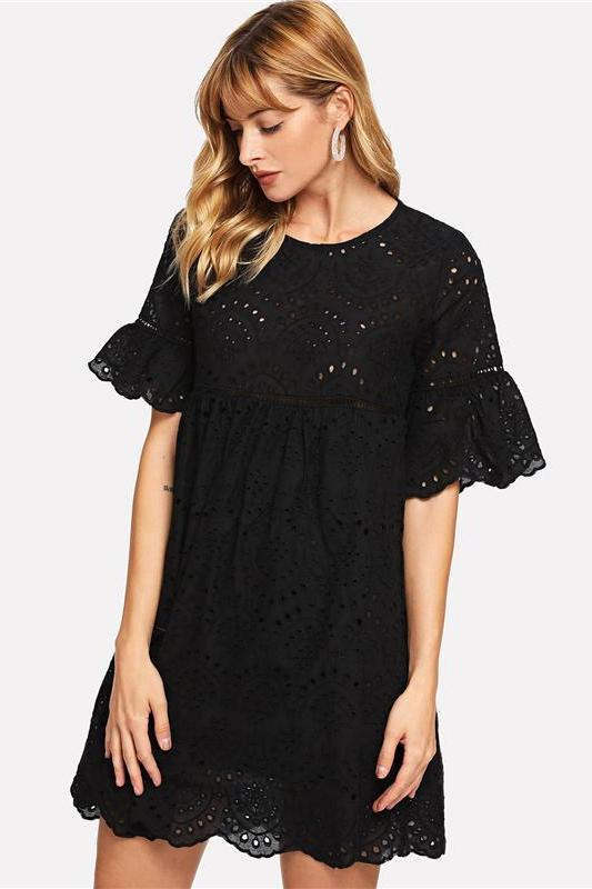 Black Ruffle Laddering Lace Embroidered Fashion Dress | TeresaClare