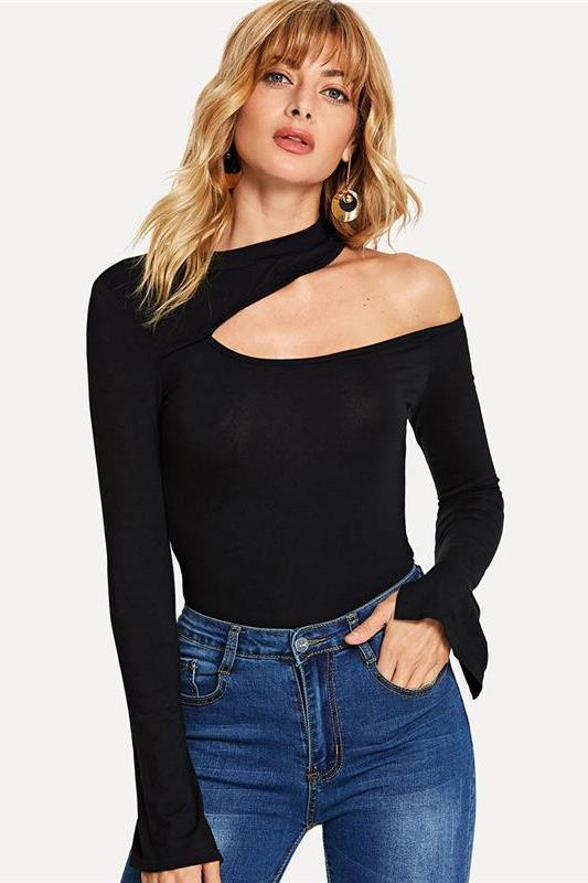Black Sexy Asymmetrical Neck Tee Plain Split Long Sleeve Autumn T-Shirt | TeresaClare