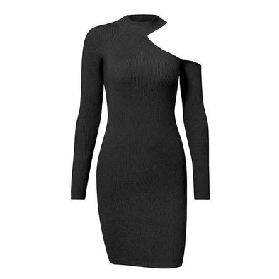 Black Sexy Bodycon Cold Shoulder Sweater Women Dress | TeresaClare