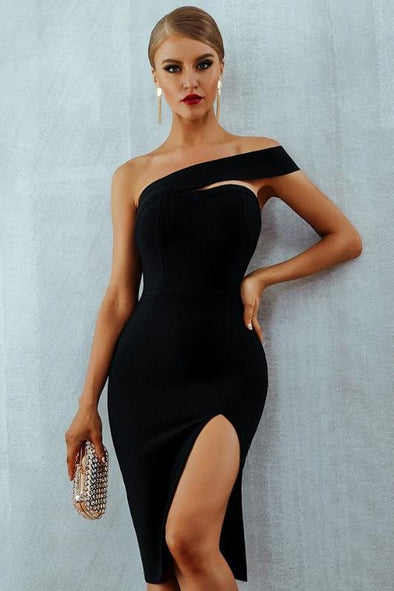 Black Sexy One Shoulder Midi Elegant Party Bodycon Bandage Dress | TeresaClare