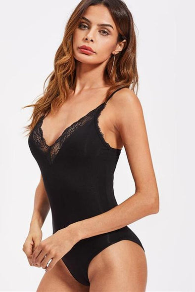 Black Sexy Plunge Neck Vintage Style Lace Bodysuit | TeresaClare