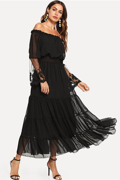 Black Sheer Mesh Off The Shoulder Lace Fashion Dress | TeresaClare