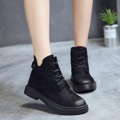 Black Short Scrub Women Low Heel Lace-Up Ankle Boots | TeresaClare