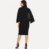 Black Solid Cape Sleeve Double Breasted Fashion Dress | TeresaClare