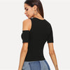Black Solid One Side Open Shoulder Rib Knit T-Shirt | TeresaClare