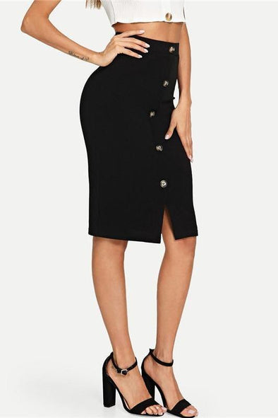 Black Solid Work Button Front Elegant Bodycon Style Skirt | TeresaClare