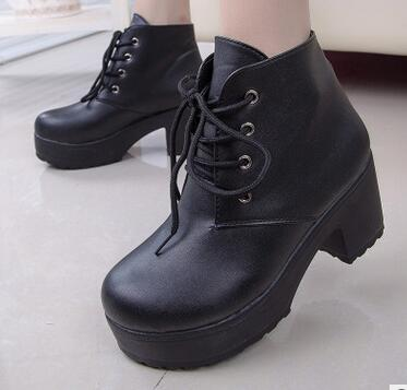 Black Spring Autumn Thick Heels Short Platform Boots | TeresaClare