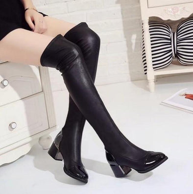 Black Thick High Heels Women High Boots Autumn Winter | TeresaClare