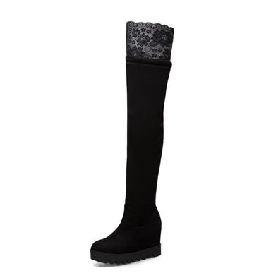 Black Thigh High Boots Faux Suede Leather Lace Over The Knee | TeresaClare