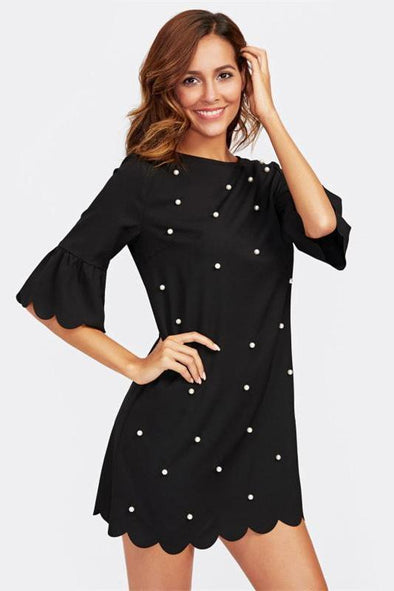 Black Trumpet Sleeve Pearl Beading Scalloped Fashion Dress | TeresaClare