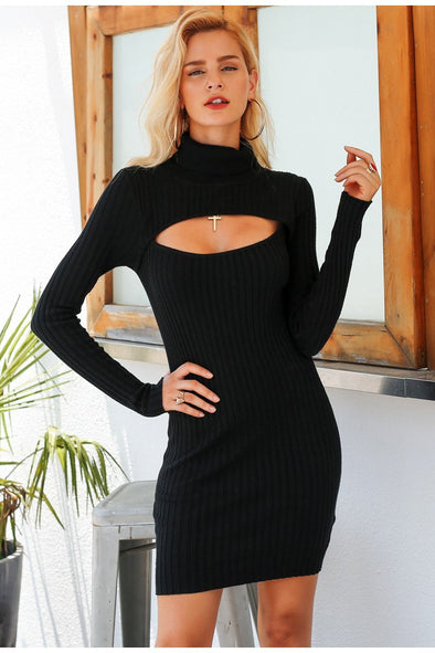 Black Turtleneck Chest Hollow Out Bodycon Sexy Dress | TeresaClare