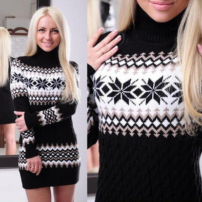 Black Turtleneck Snowflake Printed Knitted Pullover Sweater | TeresaClare