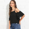 Black Vacation Bohemian Beach Cold Shoulder Blouse | TeresaClare
