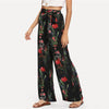 Black Vacation Bohemian Beach Floral Tropical Mixed Print Pants | TeresaClare