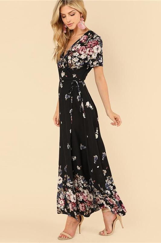 Black Vacation Boho Beach Floral Print Wrap Fashion Dress | TeresaClare