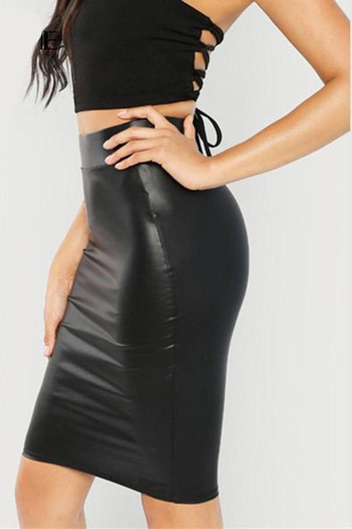 Black Waistband Sexy Streetwear Pencil Midi Skirt | TeresaClare