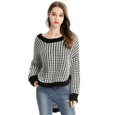 Black / White Irregularity Knitted Pullovers Sexy O-neck Sweater | TeresaClare