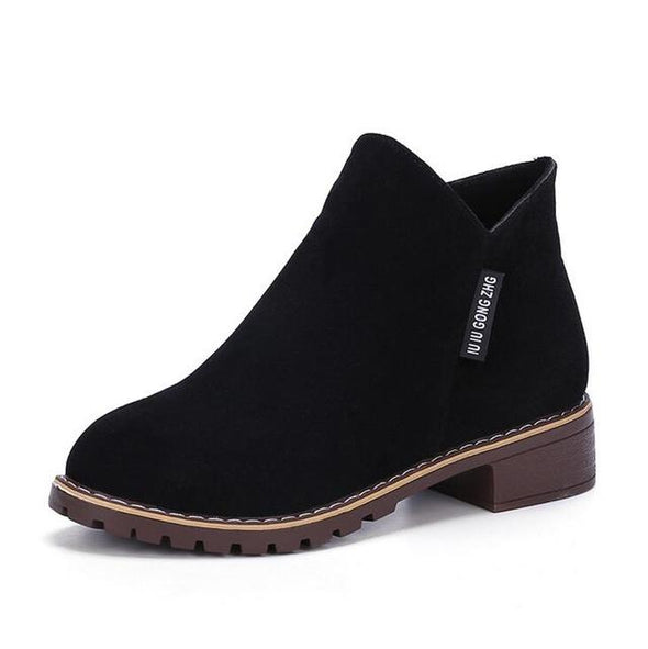 Black Winter Classic Zipper Warm Plush Ankle Boots | TeresaClare