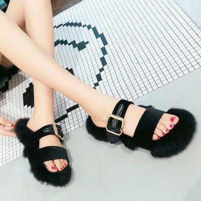 Black Women's Fashion Wear Double Belt Buckle Plush Slippers | TeresaClare