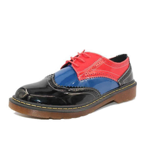 Black Women's Mixed Color Oxfords Platform Spring Flats Shoes | TeresaClare