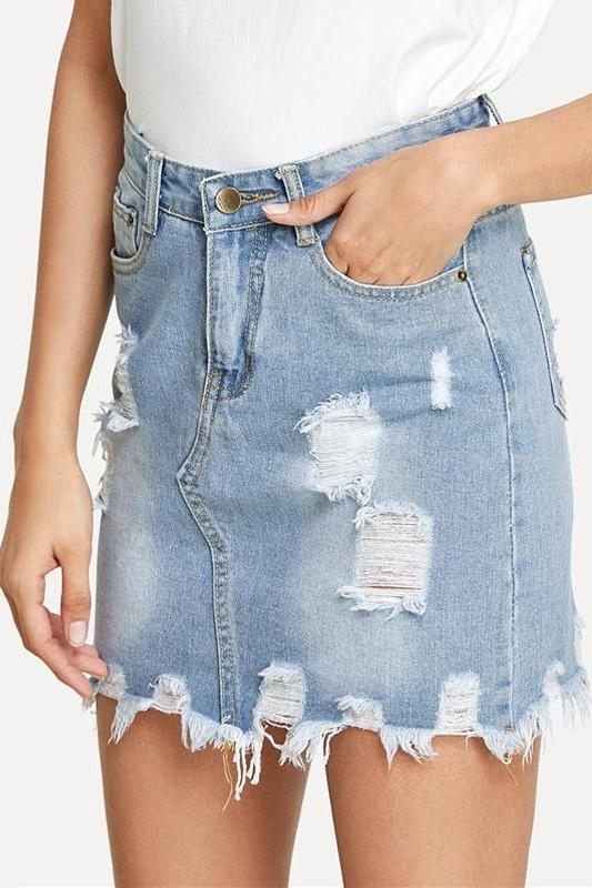 Bleach Wash Ripped Mini Denim Sheath Women Skirt | TeresaClare