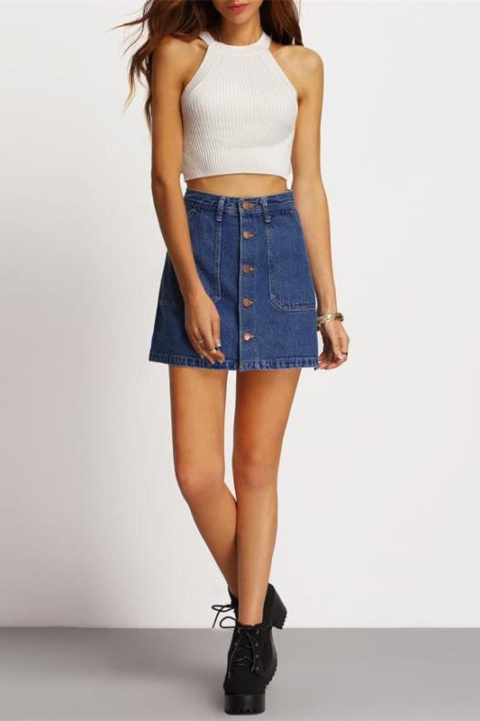 Blue A-line Button Through Denim Above Knee Shift Skirt | TeresaClare