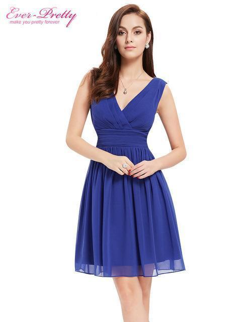 Blue A-Line Chiffon V-Neck Sleeveless Homecoming Dress | TeresaClare