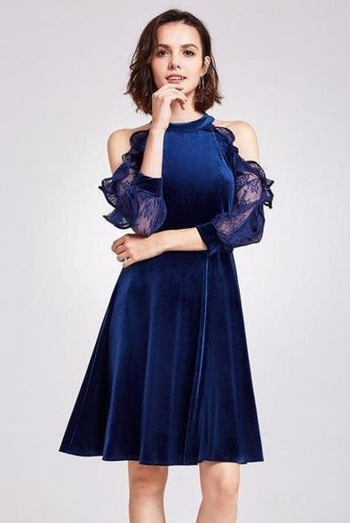 Blue A-Line Halter Neckline 3/4 Sleeves Cocktail Dress | TeresaClare
