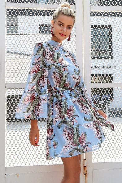 Blue Backless Lace Up Flower Print Chiffon Flare Sleeve Dress | TeresaClare