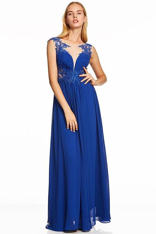 Blue Beaded Royal Blue Cap Sleeves Floor Length Evening Dress | TeresaClare