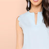 Blue Casual Minimalist Scallop Trim Shell V Collar Blouse | TeresaClare