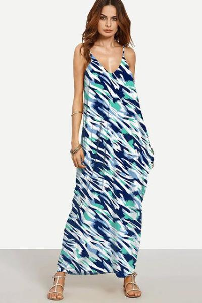 Blue Casual V-neck Ankle Length Maxi Backless Floral Print Fashion Dress | TeresaClare