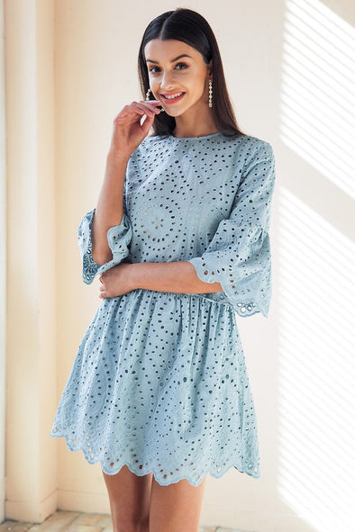 Blue Cotton Lace Embroidery Mini Button Ruffle Sleeve Dress | TeresaClare