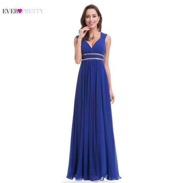 Blue Elegant Navy Blue White V neck Sleeveless Empire Evening Dress | TeresaClare