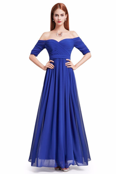 Blue Elegant Off-the Shoulder A-Line Chiffon Floor-Length Evening Dress | TeresaClare