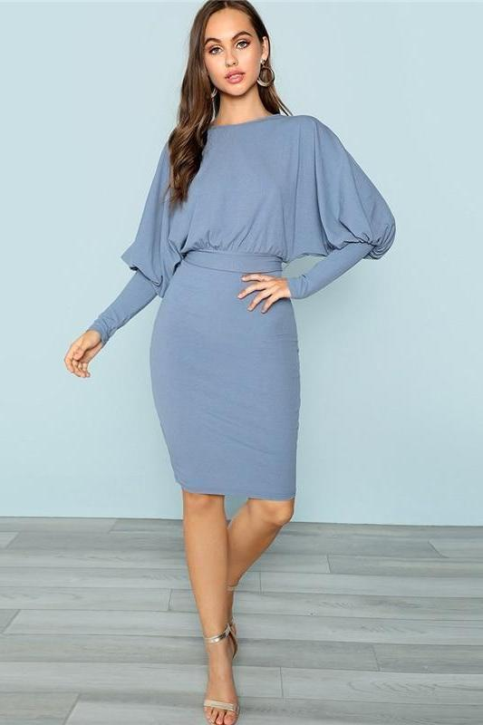 Blue Gigot Sleeve Pencil Elegant Workwear Fashion Dress | TeresaClare