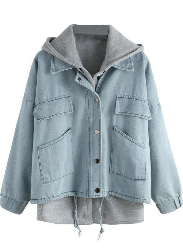 Blue Hooded Drawstring With Pockets Denim Coat | TeresaClare