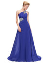 Blue One Shoulder Floor Length Chiffon Prom Dress With Beading | TeresaClare