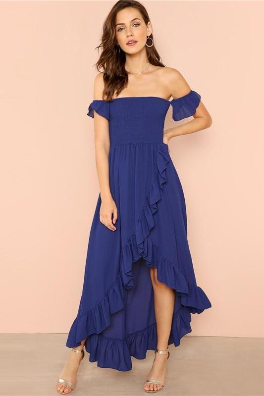 Blue Party Elegant Sexy Backless Asymmetrical Fashion Dress | TeresaClare