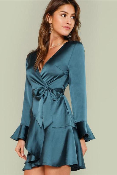 Blue Party Elegant Sexy Split Back Ruffle Trim Fashion Dress | TeresaClare