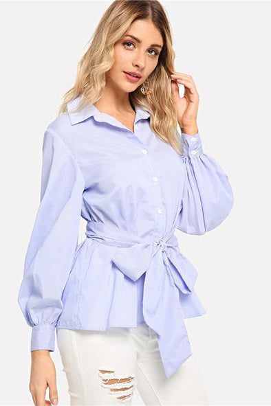 Blue Pastel Striped Elegant Lantern Sleeve Blouse | TeresaClare