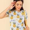 Blue Preppy Round Neck Short Sleeve Fruits Print Letter T-Shirt | TeresaClare