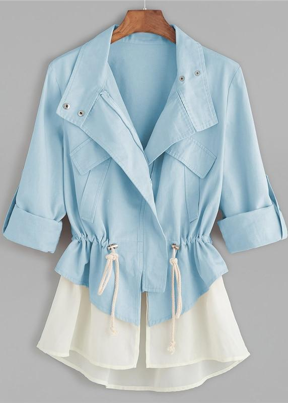 Blue Roll Sleeve Drawstring Jacket With Contrast Trim | TeresaClare
