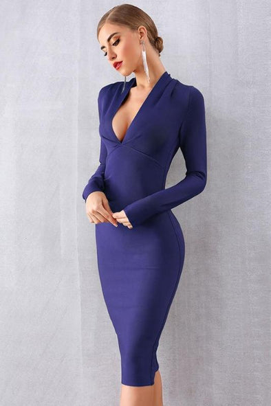 Blue Sexy Long Sleeve Deep V-Neck Bodycon Bandage Dress | TeresaClare