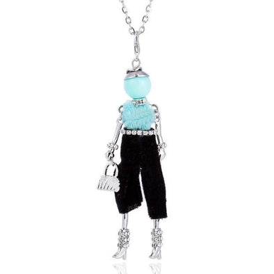 Blue Silver Color Chain Crystal Rhinestone Girl Pendant Necklace | TeresaClare