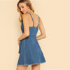 Blue Sleeveless Spaghetti Strap V-Neck Belted Denim Fashion Dress | TeresaClare