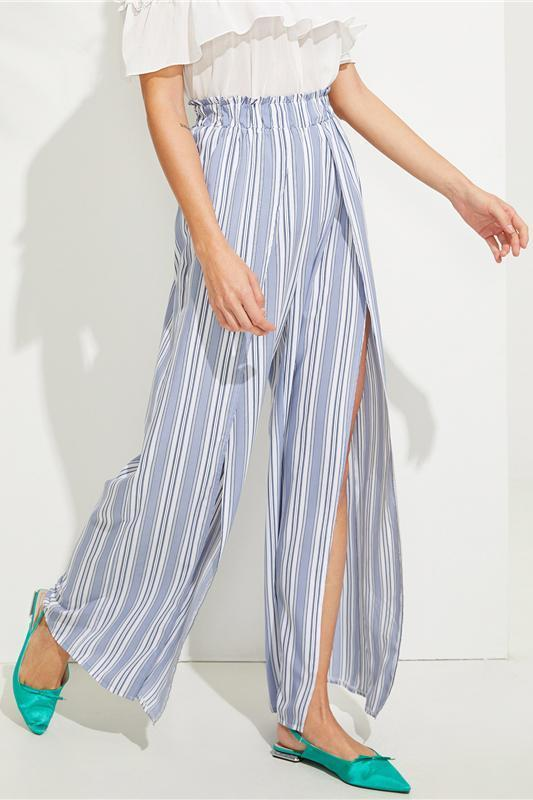 Blue Split Wide Leg Flare Waist Elastic Striped Pants | TeresaClare